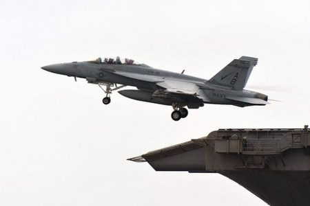 F-18F Super Hornet takes off from USS Enterprise by UK Ministry of Defence with CC license from Flickr