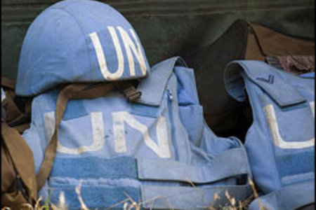 Helmet and Flack Jackets of MONUC Peacekeepers by United Nations Photo in Flickr under CC license