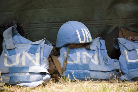 Helmet and Flack Jackets of MONUC Peacekeepers. United Nations In Flickr under CC license