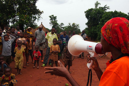 Awareness raising exercise, in Bangadi, DRC by Oxfam International under CC license on Flickr